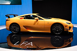 Lexus LFA sports car at the Geneva Motor Show 2011 Switzerland