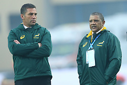 November 25, 2017 - Padova, Italy - South Africa coach Allister Coetzee with the assistant coach Franco Smith during the Rugby test match between Italy and South Africa at Plebiscito Stadium in Padova, Italy on November 25, 2017. (Credit Image: © Matteo Ciambelli/NurPhoto via ZUMA Press)