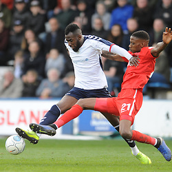 TELFORD COPYRIGHT MIKE SHERIDAN 23/3/2019 - Amari Morgan Smith of AFC Telford is tackled by Marvin Ekpiteta of Orient during the FA Trophy Semi Final fixture between AFC Telford United and Leyton Orient at the New Bucks Head