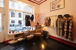 Cologne, Germany, Jan. 2012 - New shops and boutiques are popping up all over the city, but few have the swagger of the playful, four-month-old Mädchentraum,  where the 24-year-old owner Anne-Kathrin Schmidt,  a former costume designer, turns out glamorous, ultra-feminine dresses and blouses inspired by ladies fashions of the Thirties, Forties and Fifties (Greesbergstrasse 2; 49-221-3799-5751; maedchentraum.net). (Photo © Jock Fistick).