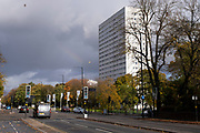 Autumn trees along the A38 Bristol Road on 26th October 2020 in Birmingham, United Kingdom. Bristol Road is one of the main roads cutting diagonally through the centre of Birmingham.