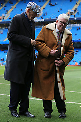 21st October 2017 - Premier League - Manchester City v Burnley - Man City Life President Bernard Halford (L) stands alongside BBC Commentator John Motson during a ceremony to mark his final season in the job - Photo: Simon Stacpoole / Offside.