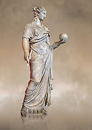 Second century AD Roman statue of Urania holding, the muse of atronomy holding  a globe, the statue was restored from two separte staues of the period, inv 293, Vatican Museum Rome, Italy,  art background ..<br /> <br /> If you prefer to buy from our ALAMY STOCK LIBRARY page at https://www.alamy.com/portfolio/paul-williams-funkystock/greco-roman-sculptures.html . Type -    Vatican    - into LOWER SEARCH WITHIN GALLERY box - Refine search by adding a subject, place, background colour, museum etc.<br /> <br /> Visit our CLASSICAL WORLD HISTORIC SITES PHOTO COLLECTIONS for more photos to download or buy as wall art prints https://funkystock.photoshelter.com/gallery-collection/The-Romans-Art-Artefacts-Antiquities-Historic-Sites-Pictures-Images/C0000r2uLJJo9_s0c