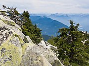 Hike 6 miles round trip and 2300 feet vertical gain to Mount Pilchuck (5324 feet) in Mount Pilchuck State Park, Washington, USA. View a large swath of Central Cascades peaks. Driving directions: Go from Granite Falls on Mountain Loop Highway to Verlot Visitor Center, drive 1 mile east and turn right on Mount Pilchuck Road (#20) and drive 7 miles to the road end and trailhead.