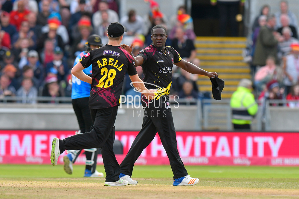 Wicket - Jerome Taylor of Somerset celebrates taking the wicket of David Wiese of Sussex during the Vitality T20 Finals Day semi final 2018 match between Sussex Sharks and Somerset County Cricket Club at Edgbaston, Birmingham, United Kingdom on 15 September 2018.