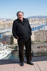 """French actor Gerard Depardieu poses during a photocall for the second season of the French TV show """"Marseille"""" broadcasted and co-produced by US streaming video giant Netflix, on February 18, 2018 in Marseille, southern France. Photo by Clement Mahoudeau/ABACAPRESS.COM"""
