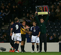 Photo: Andrew Unwin.<br /> Scotland v USA. International Challenge. 12/11/2005.<br /> Scotland's Garry O'Connor (L) is substituted for Shaun Maloney (R).