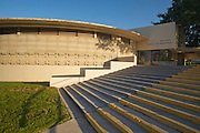 Designed by architect Frank Lloyd Wright, the Thad Buckner building originally the E.T. Roux Library on the campus of Florida Southern College in Lakeland, Florida. The building build with Student labor was completed in 1945.