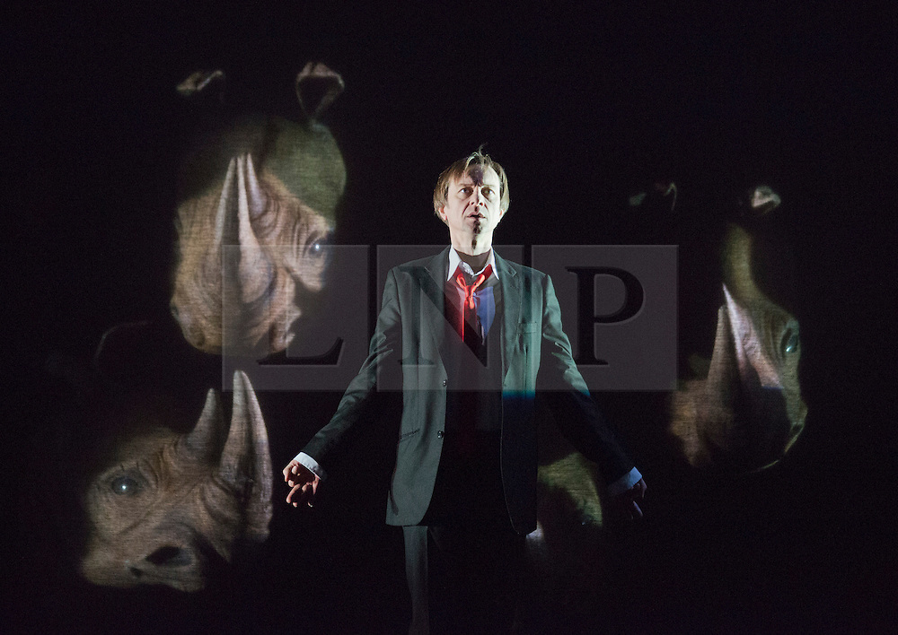 "© Licensed to London News Pictures. 14/02/2013. London, England. Pictured: Philippe Demarle. The Barbican brings Eugène Ionesco's play ""Rhinocéros"" by Théâtre de la Ville from Paris to London. In this play, villagers turn into rhinoceri. It warns against totaliarism and the destructive power of the collective. From 14 to 16 February 2013. Photo credit: Bettina Strenske/LNP"