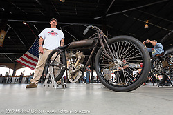 Warren Lane with his Sons of Speed 1917 Indian Power Plus twin cylinder racer at his True Grit bike show at Destination Daytona during Daytona Beach Bike Week. FL. USA. Sunday March 12, 2017. Photography ©2017 Michael Lichter.