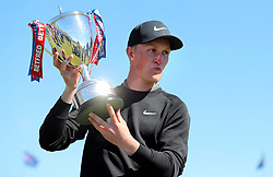 Marcus Kinhult with the trophy after winning the Betfred British Masters at Hillside Golf Club, Southport.