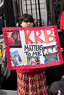 San Francisco, USA. 19th January, 2019. The Women's March San Francisco begins with a rally at Civic Center Plaza in front of City Hall. Missing and murdered indigenous women was a prominent theme at the march and rally. Here, a young girl holds a sign with photos and information about  Khadijah Britton, missing from Covelo, California, since February 2, 2018. Credit: Shelly Rivoli/Alamy Live News