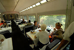 Dining car on an AMTRAK train from Philadelphia..Philadelphia, Pennsylvania, PA USA.  Photo copyright Lee Foster, 510-549-2202, lee@fostertravel.com, www.fostertravel.com. Photo 357-30739