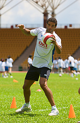 Hong Kong, China - Wednesday, July 25, 2007: Portsmouth's goalkeeper David James during a coaching session with local children at the Siu Sai Wan Sports Ground in Hong Kong. (Photo by David Rawcliffe/Propaganda)