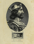 Hugh Capet (c. 939 – 14 October 996) was the King of the Franks from 987 to 996. He is the founder and first king from the House of Capet. The son of the powerful duke Hugh the Great and his wife Hedwige of Saxony, he was elected as the successor of the last Carolingian king, Louis V. Hugh was descended from Charlemagne's sons Louis the Pious and Pepin of Italy through his mother and paternal grandmother, respectively, and was also a nephew of Otto the Great. Copperplate engraving From the Encyclopaedia Londinensis or, Universal dictionary of arts, sciences, and literature; Volume VII;  Edited by Wilkes, John. Published in London in 1810
