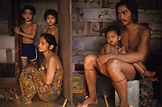 PENAN, MALAYSIA. Sarawak, Borneo, South East Asia. Forcibly settled Penan, who have lost their nomadic lifestyle because  their lands have been  deforested. Tropical rainforest and one of the world's richest, oldest eco-systems, flora and fauna, under threat from development, logging and deforestation. Home to indigenous Dayak native tribal peoples, farming by slash and burn cultivation, fishing and hunting wild boar. Home to the Penan, traditional nomadic hunter-gatherers, of whom only one thousand survive, eating roots, and hunting wild animals with blowpipes. Animists, Christians, they still practice traditional medicine from herbs and plants. Native people have mounted protests and blockades against logging concessions, many have been arrested and imprisoned.