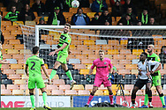 Forest Green Rovers Christian Doidge(9) heads the ball clear during the EFL Sky Bet League 2 match between Port Vale and Forest Green Rovers at Vale Park, Burslem, England on 23 March 2019.