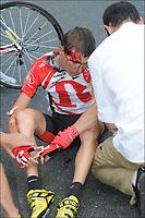 Sykkel<br /> Tour de France 2011<br /> 06.07.2011<br /> Foto: PhotoNews/Digitalsport<br /> NORWAY ONLY<br /> <br /> 5th stage / Carhaix - Cap Frehel<br /> <br /> crash BRAJKOVIC Janez (TEAM RADIOSHACK - SLO)