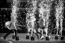 Scarlets' Rob Evans with team-mate Hadleigh Parkes take to the pitch <br /> <br /> Photographer Simon King/Replay Images<br /> <br /> Guinness PRO14 Round 21 - Dragons v Scarlets - Saturday 28th April 2018 - Principality Stadium - Cardiff<br /> <br /> World Copyright © Replay Images . All rights reserved. info@replayimages.co.uk - http://replayimages.co.uk