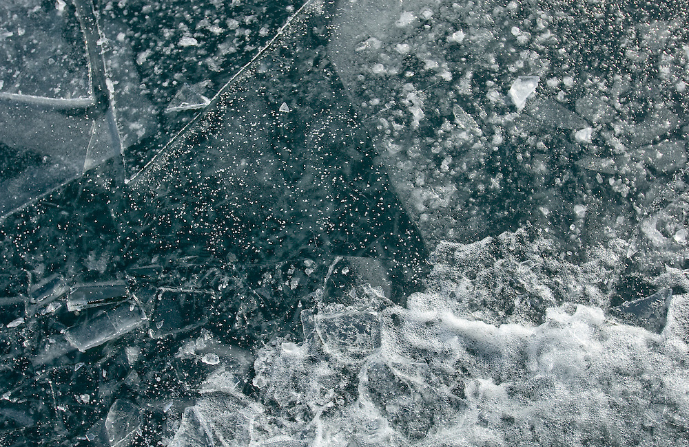 The view of ice on lake Michigan from a ferry breaking it's way through the ice from the tip of the Door County peninsula to Washington Island.