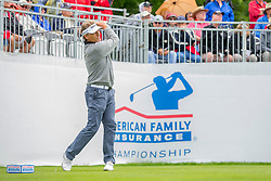 June 22, 2018 - Madison, WI, U.S. - MADISON, WI - JUNE 22: Bernhard Langer tees off on the first tee during the American Family Insurance Championship Champions Tour golf tournament on June 22, 2018 at University Ridge Golf Course in Madison, WI. (Photo by Lawrence Iles/Icon Sportswire) (Credit Image: © Lawrence Iles/Icon SMI via ZUMA Press)