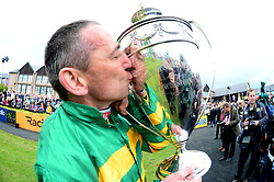 Davy Russell with the trophy after winning the BETDAQ Punchestown Champion Hurdle onbaord Buveur D'Air during day four of the Punchestown Festival at Punchestown Racecourse, County Kildare, Ireland.