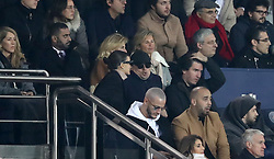Leonardo DiCaprio (middle row, centre) is spotted in the stands of the Paris Saint-Germain v Liverpool Match at Parc Des Princes