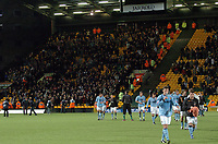 Photo: Ashley Pickering.<br />Norwich City v Hull FC. Coca Cola Championship. 25/11/2006.<br />The Hull fans celebrate at the end of the match as the players leave the pitch