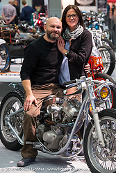 Luca Turata on his 1994 Harley-Davidson 1340cc Evo custom (made from a Heritage model) from Stile Custom in Valeggio Sul Mincio (Verona), Italy in the AMD World Championship of Custom Bike Building in the custom themed Hall 10 at the Intermot Motorcycle Trade Fair. Cologne, Germany. Tuesday October 4, 2016. Photography ©2016 Michael Lichter.