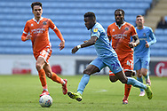 Coventry City forward (on loan from Wolverhampton Wanderers)Bright Enobakhare (24) sprints forward with the ball during the EFL Sky Bet League 1 match between Coventry City and Shrewsbury Town at the Ricoh Arena, Coventry, England on 28 April 2019.