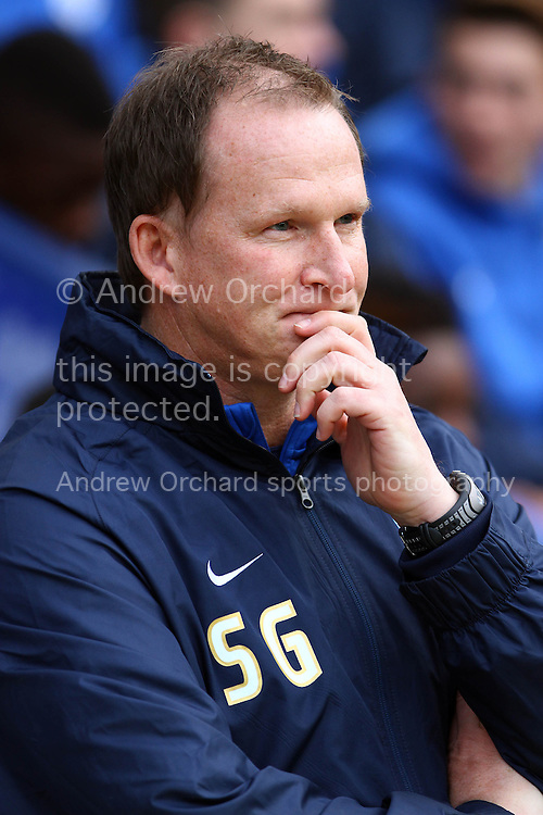 Preston North End Manager Simon Grayson deep in thought prior to kick off.Skybet football league one match, Preston North End v Bradford city at Deepdale in Preston, Lancs on Saturday 15th November 2014.<br /> pic by Chris Stading, Andrew Orchard sports photography.