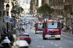 BARCELONA (SPAIN), Aug. 17, 2017  Fire trucks head to Plaza Catalonia following a terrorist attack in central Barcelona, Spain, on Aug. 17, 2017. Thirteen people were killed, 80 others injured and hospitalized with 15 of them in serious condition in Barcelona terrorist attack on Thursday afternoon, Spanish official said. (Credit Image: © Lino De Vallier/Xinhua via ZUMA Wire)