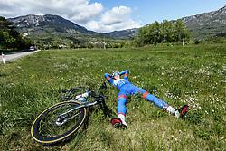 Rider resting in Ajdovscina during 2nd Stage from Portoroz to Soca, 303km at Day 2 of DOS 2021 Charity event - Dobrodelno okrog Slovenije, on April 28, 2021, in Slovenia. Photo by Vid Ponikvar / Sportida