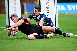 Ulster Ravens' Roger Wilson scores a try - Photo mandatory by-line: Dougie Allward/JMP  - Tel: Mobile:07966 386802 21/10/2012 - SPORT - Rugby Union - British and Irish Cup -  Bristol  - The Memorial Stadium - Bristol Rugby V Ulster Ravens