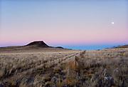 Moonrise over volcano in the desert west of Albuquerque, New Mexico