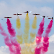 © Maria Muina I MAPFRE. La patrulla Águila despiden a la flota en Alicante para disputar la etapa 1. The Eagle Patrol sais good bye the fleet for start of leg 1 in Alicante.