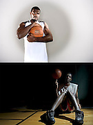 NBA player Greg Oden poses for a portrait in Indianapolis Tuesday, May 12, 2008.