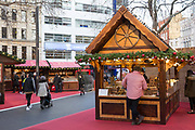 A traditional Christmas market in Leicester Square on the 11th December 2018 in London in the United Kingdom.