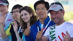 World Match Racing Tour 2010. Korea Match Cup, Gyeonggi, Korea. 8th June 2010, Mr Kim Moon Soo, Governor, Gyeonggi Province (second right) with Paulo Cian (right)