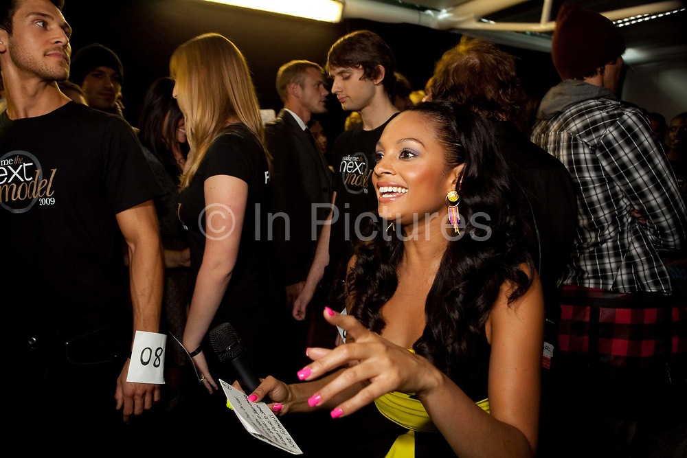 Alesha Dixon getting in the mood. Fifty finalists voted for by tens of thousands via face book made it to the London final. They were put through their paces, had modelling lessons and made up by top professionals. In the evening friends and Next customer competition winners attended a party and fashion show hosted by Alesha Dixon and Paul Sculfor where the eventual winners Dan Clarke, 26, and Kiren Modi,20, were decided upon by industry leaders.