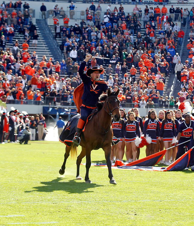 The Virginia Cavaliers mascot rides his horse on the field during the game against the Miami Hurricanes at Scott Stadium in Charlottesville, VA. Virginia won 41-40.