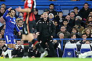 Eddie Howe, the Bournemouth manager screams at this players from the touchline. Barclays Premier league match, Chelsea v AFC Bournemouth at Stamford Bridge in London on Saturday 5th December 2015.<br /> pic by John Patrick Fletcher, Andrew Orchard sports photography.