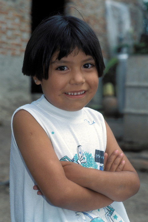 Portrait of young girl from low-income Campesino (farmer) family in San Miguel de Allende, Mexico.<br /> ©Bob Daemmrich/
