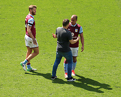 23 April 2017 - EFL Championship Football - Aston Villa v Birmingham City - Gabby Agbonlahor of Aston Villa chats to a pitch invader - Photo: Paul Roberts / Offside