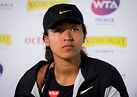 Naomi Osaka of Japan talks to the media after winning her first-round match at the 2019 Nature Valley Classic WTA Premier tennis tournament
