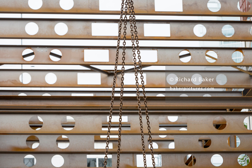 Construction girders on a new development in the City of London - the capital's historic financial district - on 20th August 2018, in London, England.