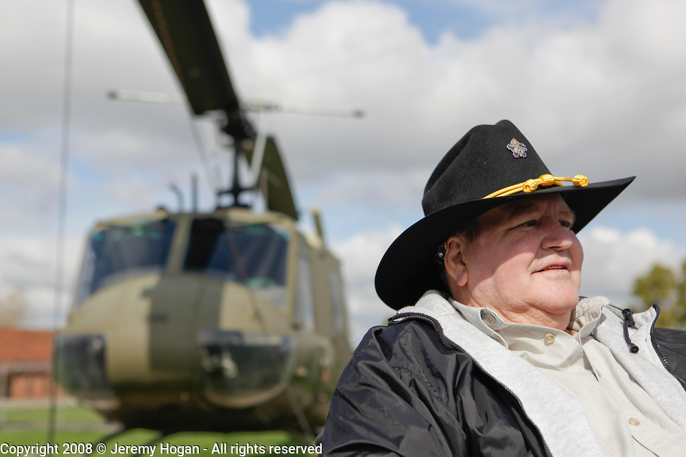 Ray Arnold, who flew OH-13 helicopters in B Troop sits for a portrait after the the 9th Cavalry Monument rededication ceremony. Gathering of Warriors reunion attended by Vietnam War Veterans of the 1st Squadron, 9th Cavalry, 1st Cavalry Divison.