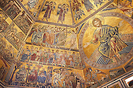 The Medieval mosaics of the ceiling of The Baptistry of Florence Duomo ( Battistero di San Giovanni ) showing Christ and the Apostles,  started in 1225 by Venetian craftsmen in a Byzantine style and completed in the 14th century. Florence Italy .<br /> <br /> If you prefer you can also buy from our ALAMY PHOTO LIBRARY  Collection visit : https://www.alamy.com/portfolio/paul-williams-funkystock/byzantine-art-antiquities.html . Type -   Florence   - into the LOWER SEARCH WITHIN GALLERY box. Refine search by adding subject etc<br /> <br /> Visit our BYZANTINE ART PHOTO COLLECTION for more   photos  to download or buy as prints https://funkystock.photoshelter.com/gallery-collection/Roman-Byzantine-Art-Artefacts-Antiquities-Historic-Sites-Pictures-Images-of/C0000lW_87AclrOk .<br /> <br /> Visit our ITALY PHOTO COLLECTION for more   photos of Italy to download or buy as prints https://funkystock.photoshelter.com/gallery-collection/2b-Pictures-Images-of-Italy-Photos-of-Italian-Historic-Landmark-Sites/C0000qxA2zGFjd_k<br /> .<br /> <br /> Visit our MEDIEVAL PHOTO COLLECTIONS for more   photos  to download or buy as prints https://funkystock.photoshelter.com/gallery-collection/Medieval-Middle-Ages-Historic-Places-Arcaeological-Sites-Pictures-Images-of/C0000B5ZA54_WD0s