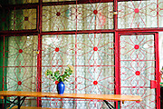 Patio latticework of Polish pub. Lutomierska Street Balucki District Lodz Central Poland