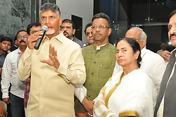"November 19, 2018 - Kolkata, India - Andhra Pradesh Chief Minister Chandrababu Naidu today meet to  West Bengal Chief Minister  Mamata Banerjee and after the meeting  jointly press conferences,The November 22 meeting will focus on the form and structure of the proposed anti-Bharatiya Janata Party (BJP) forum and a course of action to take forward the initiative further. Besides, a plan of action will be drafted to fight the Narendra Modi government over its alleged anti-people policies such as the use of official agencies like the Central Bureau of Investigation (CBI) and income tax department to settle scores with political rivals, dismantling of institutions and the ""ill-effects"" of the note ban.Naidu has met leaders from a wide spectrum of opposition parties including Rahul Gandhi, Bahujan Samaj Party president Mayawati, Samajwadi Party chief Akhilesh Yadav and his father and party patriarch Mulayam Singh Yadav, Delhi chief minister and Aam Aadmi Party chief Arvind Kejriwal, Nationalist Congress Party president Sharad Pawar, National Conference chief Farooq Abdullah, Dravida Munnetra Kazhgam (DMK) leader MK Stalin and leaders of the Communist Party of India and Communist Party of India (Marxist).  At the State Secretariat Office Nabanna on November 19,2018 in Kolkata,India. (Credit Image: © Debajyoti Chakraborty/NurPhoto via ZUMA Press)"